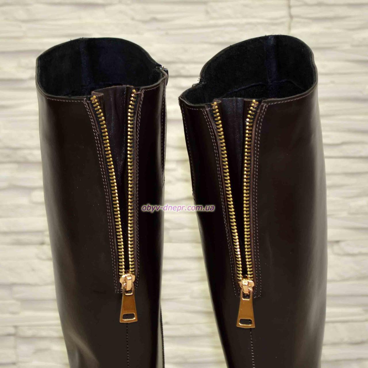 93b9d08aa ... Женские кожаные сапоги демисезонные на устойчивом каблуке, коричневый  цвет., фото 6