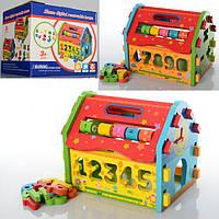 Деревянная игрушка Сортер MD 0717  домик-конструктор, в кор-ке, 21-17,5-17 см