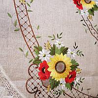 Скатерть 220х150 овальная с вышивкой и кружевом , фото 1
