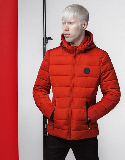 Мужская весенняя куртка 4726 оранжевая