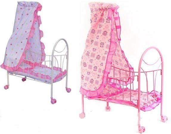 Кроватка для кукол Melogo 9394 металлическая с балдахином