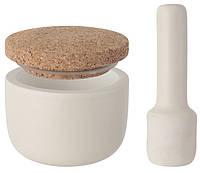 ORIGINAL BergHOFF 3950032 Ступка керамическая с пестиком BergHOFF Leo с крышкой 10х9 см Белая