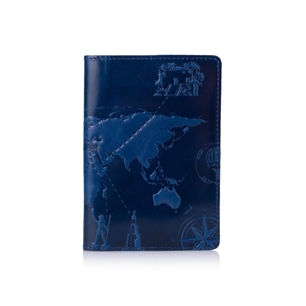 Голубая обложка для паспорта с натуральной глянцевой кожи с художественным тиснением