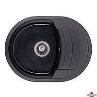 Черная мойка из искусственного камня с евросифоном 61*47 см Granado  Malaga Black Shine 0201