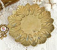 Старая латунная тарелочка, конфетница в форме цветка, латунь, Германия, фото 1