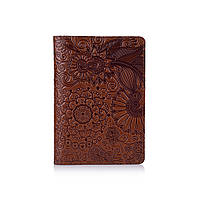 """Янтарная дизайнерская обложка на паспорт ручной работы с художественным тиснением, коллекция """"Mehendi Art"""""""