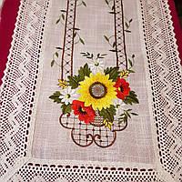 Салфетка 40х90 из выбеленного льна с вышивкой в Украинском стиле