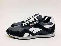 Мужские спортивные кроссовки Reebok черно-серые, сетка