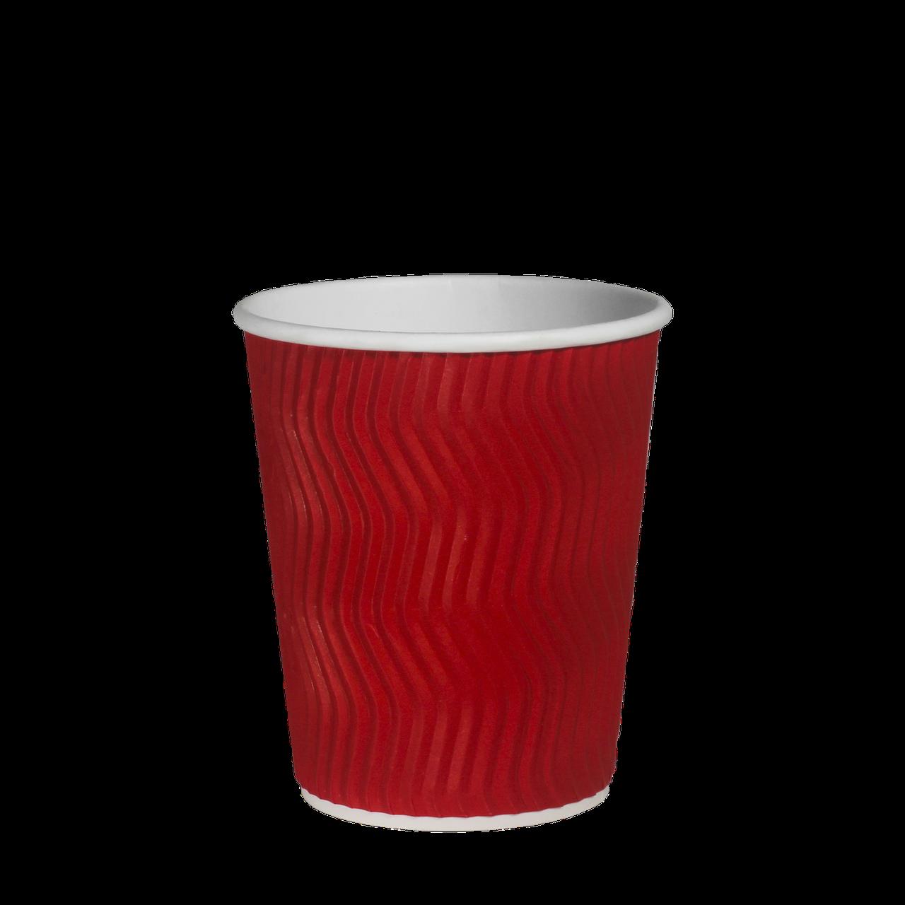 Стакан гофрований 250мл.(8oz) (25/20/500) (кв79) Червоний