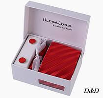Набор галстук платок запонки зажим красный в косую полоску