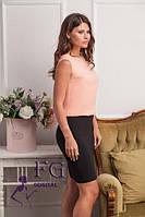 Платье имитация юбки и блузки персикового цвета