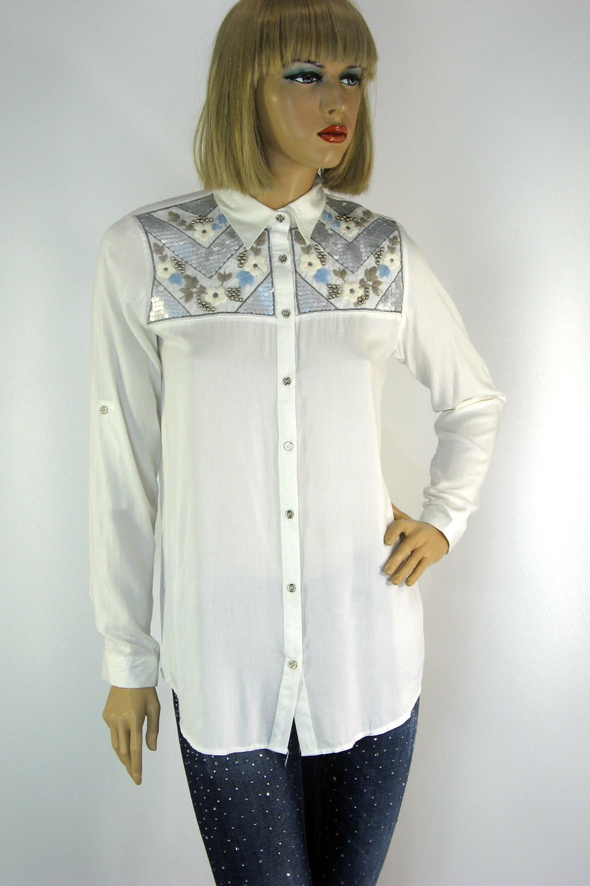 Жіноча сорочка вишита  бісером і паєтками  165