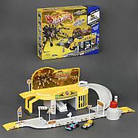 Гараж ХОТ ВИЛС  Атака паука 2 металлические машинки, 2 этажа, запускной механизм, в коробке