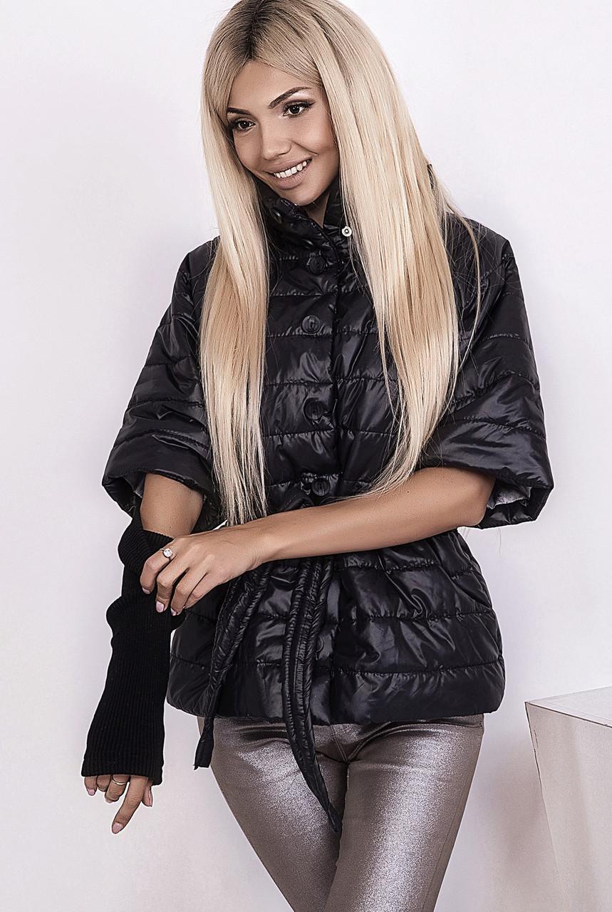 85d7163aee74 Куртка женская стеганая рукава резинка черная  продажа, цена в ...