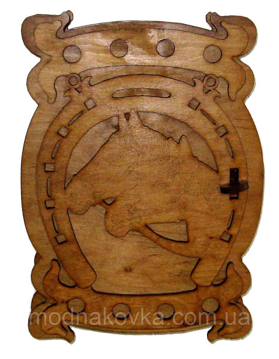 Ключница деревянная Кони с подковой