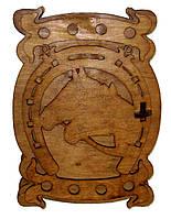 Ключница деревянная Кони с подковой, фото 1