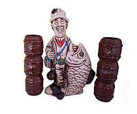 """Штоф """"Винный набор """"Рыбак"""" и 6 рюмок"""". Славянская керамика. Посуда керамическая. Сувениры, керамика."""