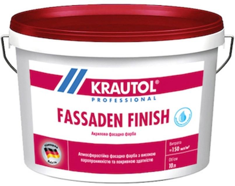Краска акриловая KRAUTOL FASSADEN FINISH фасадная, B1-белая, 10л