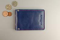 Обложка для прав / ID-карты /нового паспорта (синяя гладкая кожа)