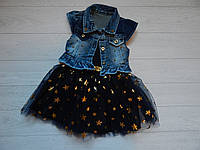 Платье темно синие Звездочки шифон с джинсовой курточкой на девочку