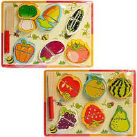 Деревянная игрушка Рамка-вкладыш Овощи на липучках, A03144, 003993