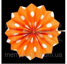 Веер бумажный 40 см оранжевый горох