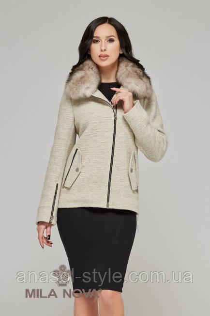 Пальто демисезонное короткое шерсть бежевый