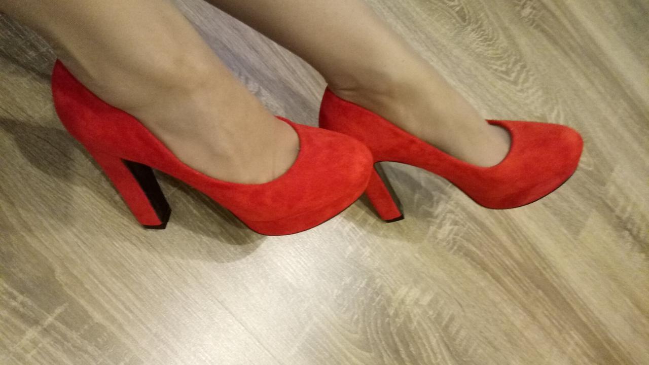 Женские туфли Loretta A23-8 красная замша, 36