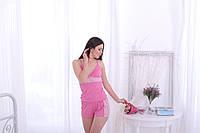 Женский ночной комплект с кружевом розовый