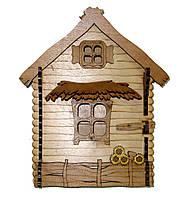 Ключница деревянная Хата малая Подсолнухи I Ключница на стену I Ящик для ключей из дерева