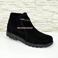 Мужские ботинки , осень/зима, натуральная замша черного цвета