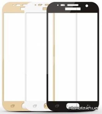 Color защитное стекло на весь экран для Samsung J730 (2017) 0,33mm 9H 3D с черной рамкой