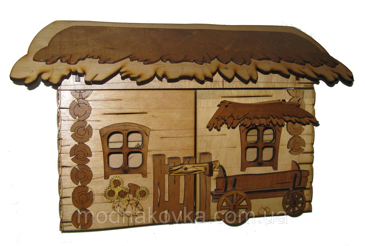 Ключница деревянная Хата большая с телегой