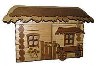 Ключница деревянная Хата большая с телегой, фото 1