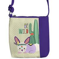Фиолетовая сумка для девочки с принтом заяц
