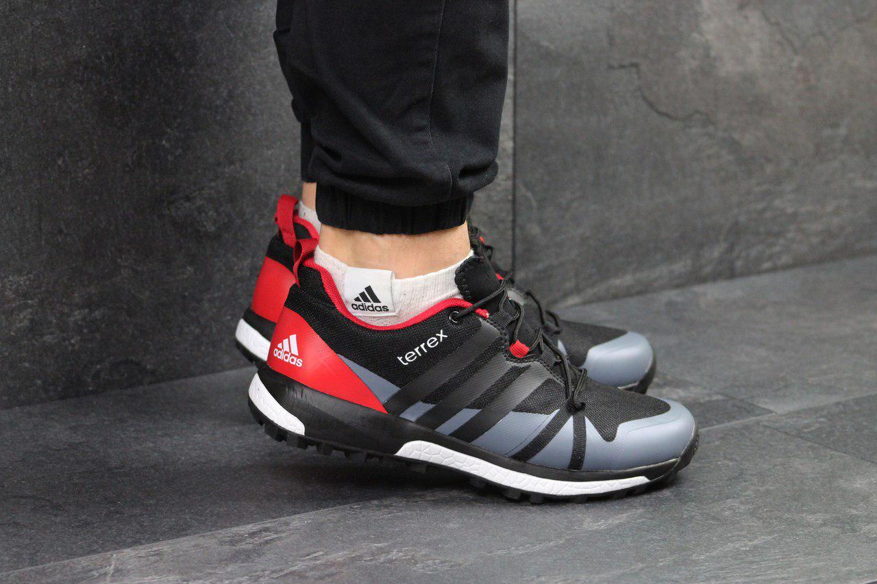 Кроссовки мужские в стиле Adidas Terrex Boost, материал - кожа+сетка, черно- 2eac684f424