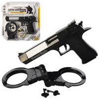 Набор военного HY076  пистолет, звук, свет, лазер, наручники, на бат-ке, в слюде, 25-26-3см
