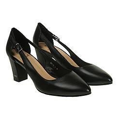 Туфли женские Sufinna (черного цвета, кожаные, на удобном каблуке, оригинальные)