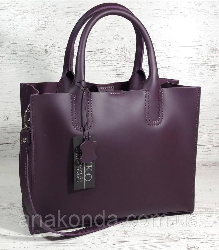 78 Натуральная кожа, Сумка женская баклажановая (фиолетовая) ультраматовая Сумка кожаная женская фиолетовая