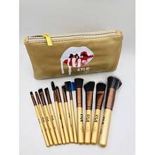 Набор кистей для макияжа Kylie GOLD в косметичке (12 шт)