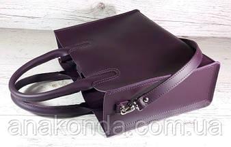 78 Натуральная кожа, Сумка женская баклажановая (фиолетовая) ультраматовая Сумка кожаная женская фиолетовая, фото 3