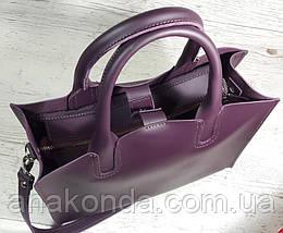 78 Натуральная кожа, Сумка женская баклажановая (фиолетовая) ультраматовая Сумка кожаная женская фиолетовая, фото 2