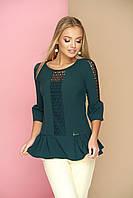Красивая женская блузка с гипюром, зелёная, размер 44, 46, 48, 50