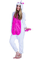 Кигуруми единорог белый с розовыми крыльями и животом рост 166-175 L kigurumi костюм
