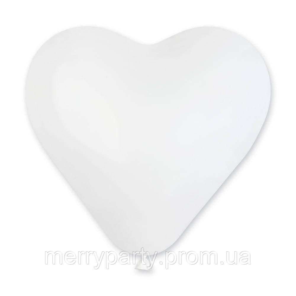 """17"""" (43 см) Сердце пастель белый Gemar Италия шар латексный"""