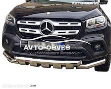 Защита переднего бампера для Mercedes-Benz X-class 2017 - ... двойной ус с перемычками