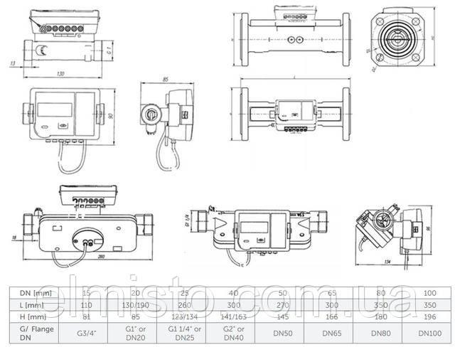 Габаритные размеры расходомеровQALCOSONIC FLOW 2