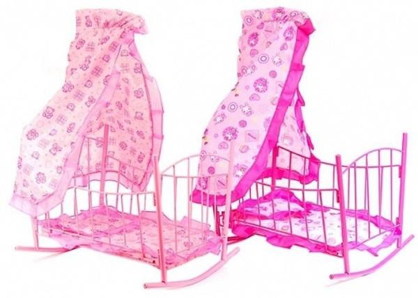 Кроватка для кукол Melogo 9349 металлическая с балдахином