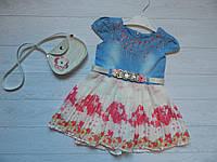 Платье джинсовое плиссе хлопок розовые цветы, в подарок сумочка на девочку