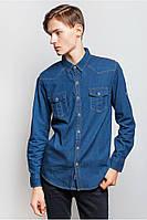 Рубашка мужская джинс (Синий)